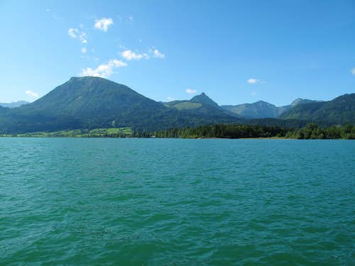 Looking across the Wolfgangsee to the Hoher Zinken (1764m)