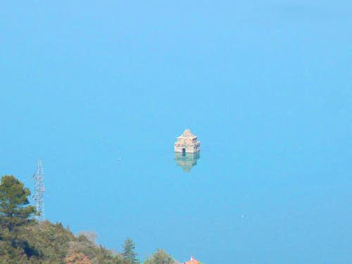Flooded church in the dam's artificial lake of Ainsa