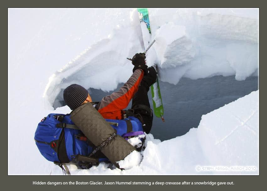 A close call with a deep crevasse