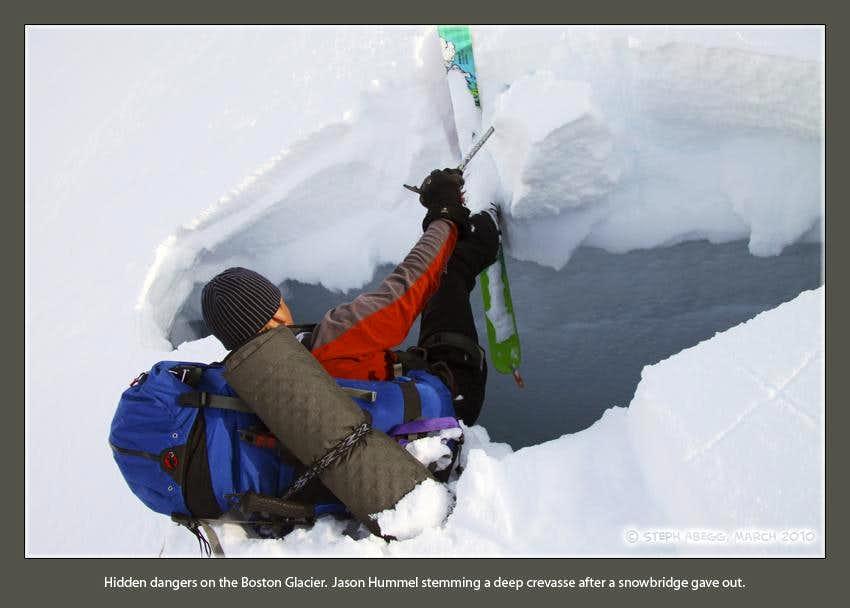 A close call with a deep crevasse
