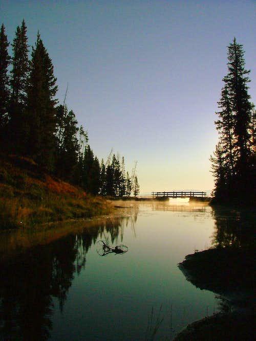 Sunrise at Yellowstone lake.