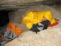 Bivy cave on approach....