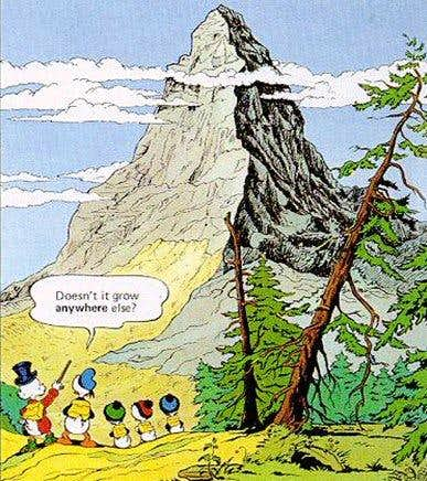 Donald Duck and the Matterhorn.
