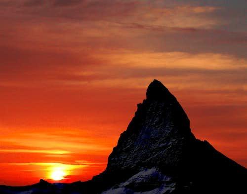 sunset at matterhorn.