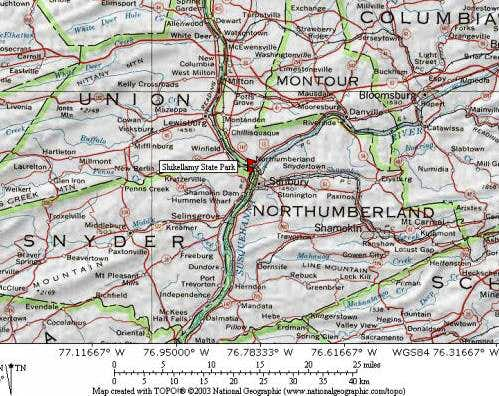 Map of north central PA to...