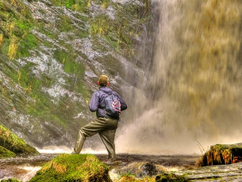 Pistyll Rhaeadr Waterfall and I in Waders