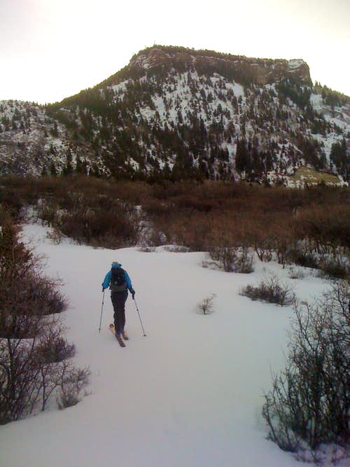Ann skins toward the Thunderbird of Grand Mesa\'s North Turret