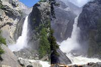 Yosemite Falls Before and During Flood