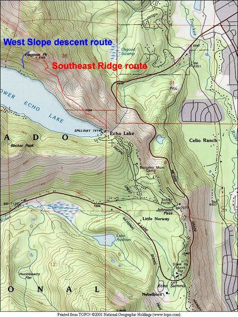 Area map showing Echo Summit,...