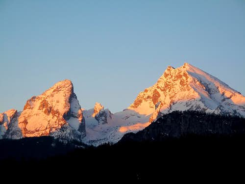 The Watzmann as seen from Berchtesgaden early in the morning in April 1