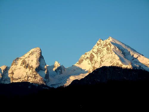 The Watzmann as seen from Berchtesgaden early in the morning in April 3