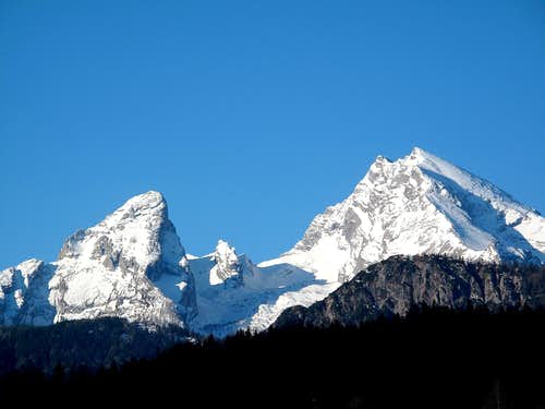 The Watzmann as seen from Berchtesgaden early in the morning in April 2