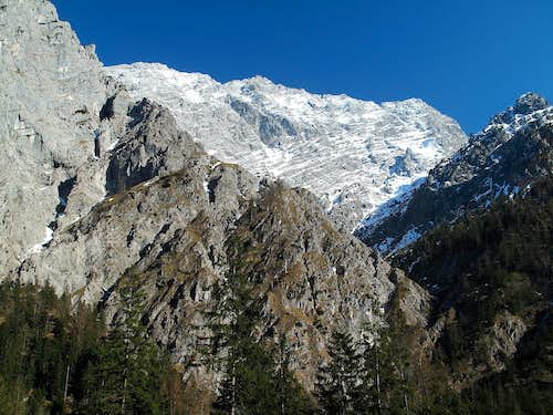 Looking up to the Watzmann (2713m) with it's west wall from the Wimbach valley