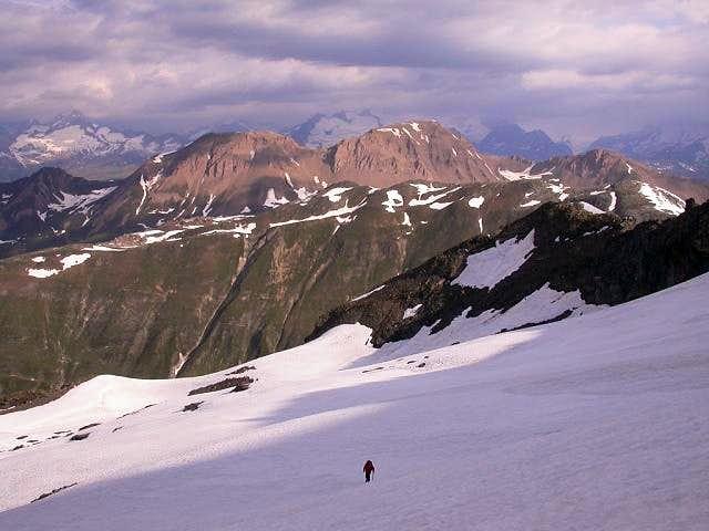 On the Bortel glacier towards...