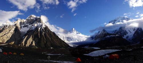 Concordia. A view at K2 and Broad Peak.