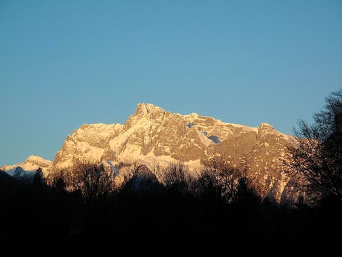 The Hochkalter (2607m) as seen from Berchtesgaden early in the morning in April 3