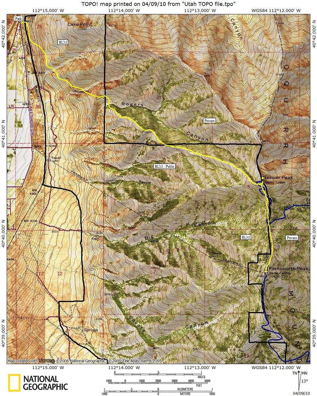 Farnsworth Peak Map