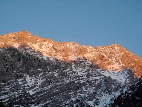 Watzmann main and south summits (both 2713 meters high) in alpine glow