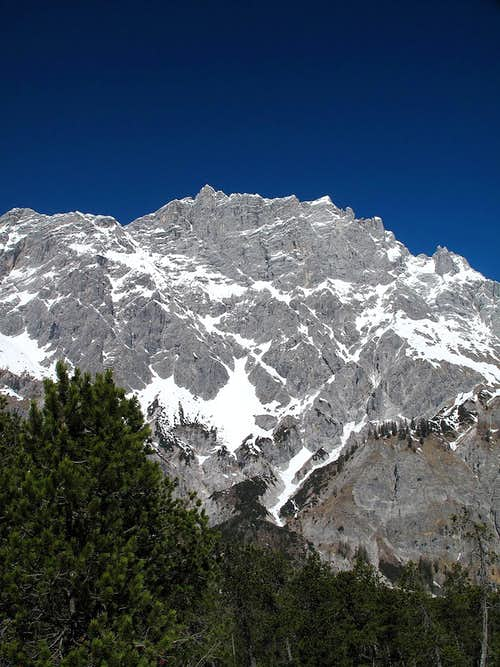 The Hochkalter (2607m) seen from the upper Wimbach valley in April