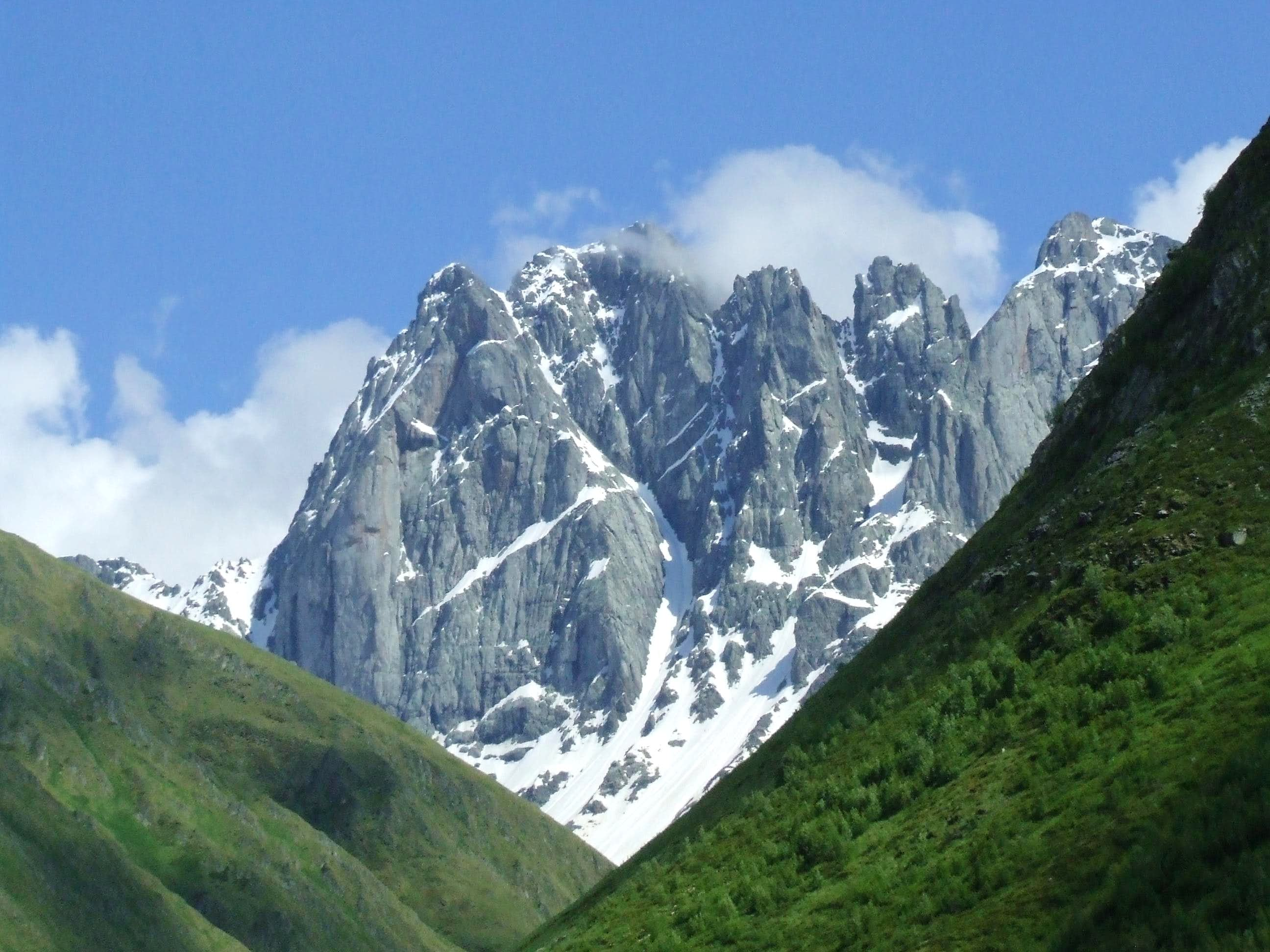 Chaukhi mountains in Georgia (Caucasus)
