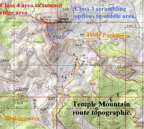 Temple Mountain Route topographic.