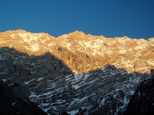 The west wall of the Watzmann in the evening light