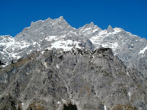 The Hochkalter group, seen from the Wimbachgries