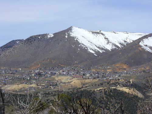 Mount Davidson 7864' and Virginia City from Flowery Peak - 4-17-2010