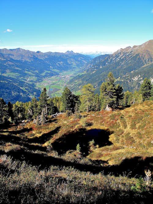 Autumnal view down the Gastein valley