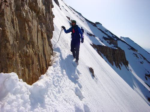 "Traversing ""The Step"" on Everest Ridge, Mount Timpanogos, Utah."