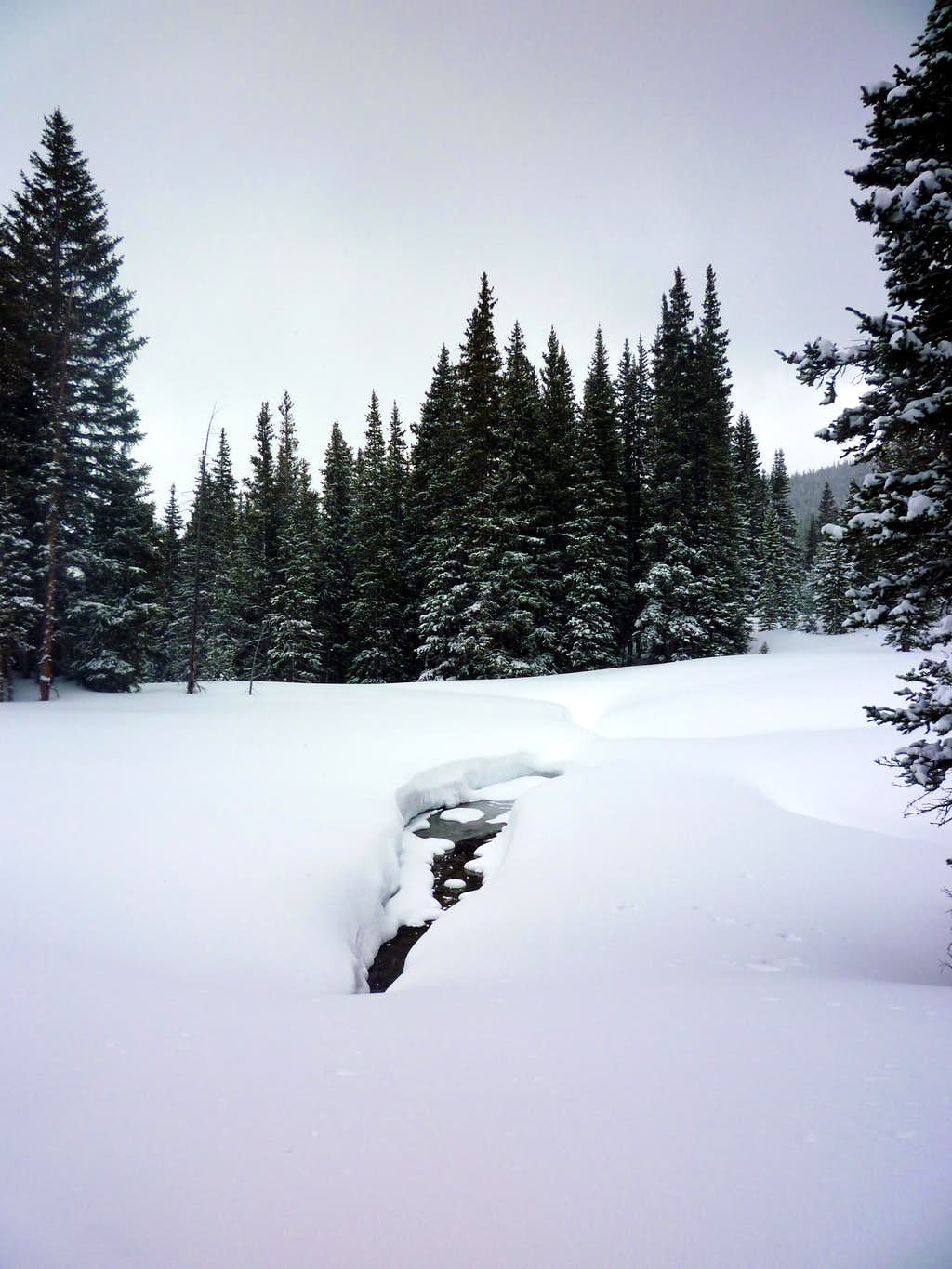 Pillows of snow and stream