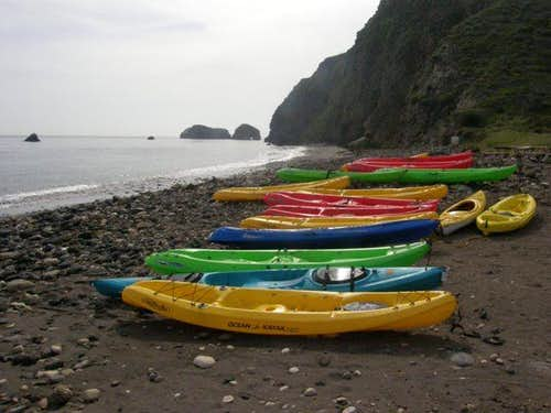 Kayaks at Scorpion Beach