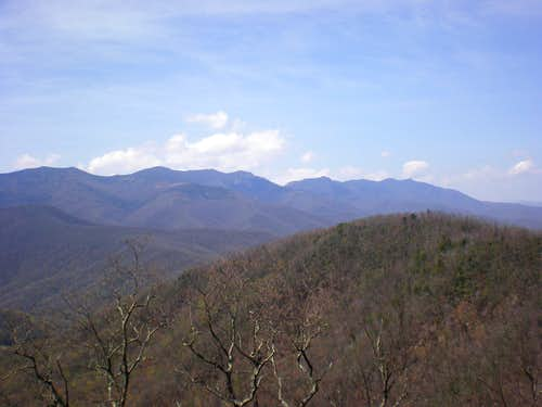 Most of the highest peaks of the Black Mountains, NC.