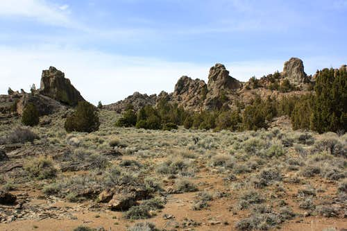 Pinnacles, a cave, and juniper