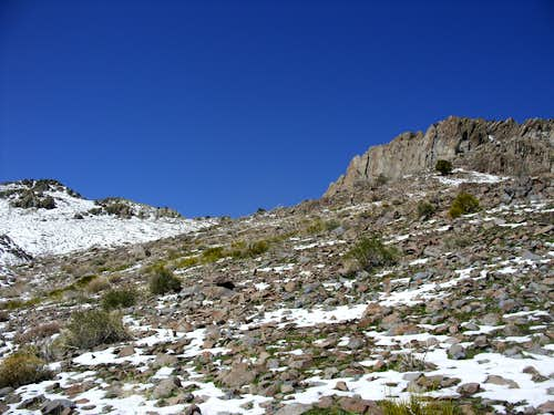 Cliffs along the upper slope