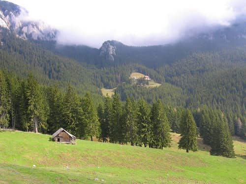 In the second plan, far, hut Curmătura