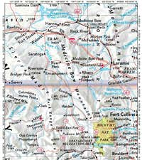 Medicine Bow Mountains locator map