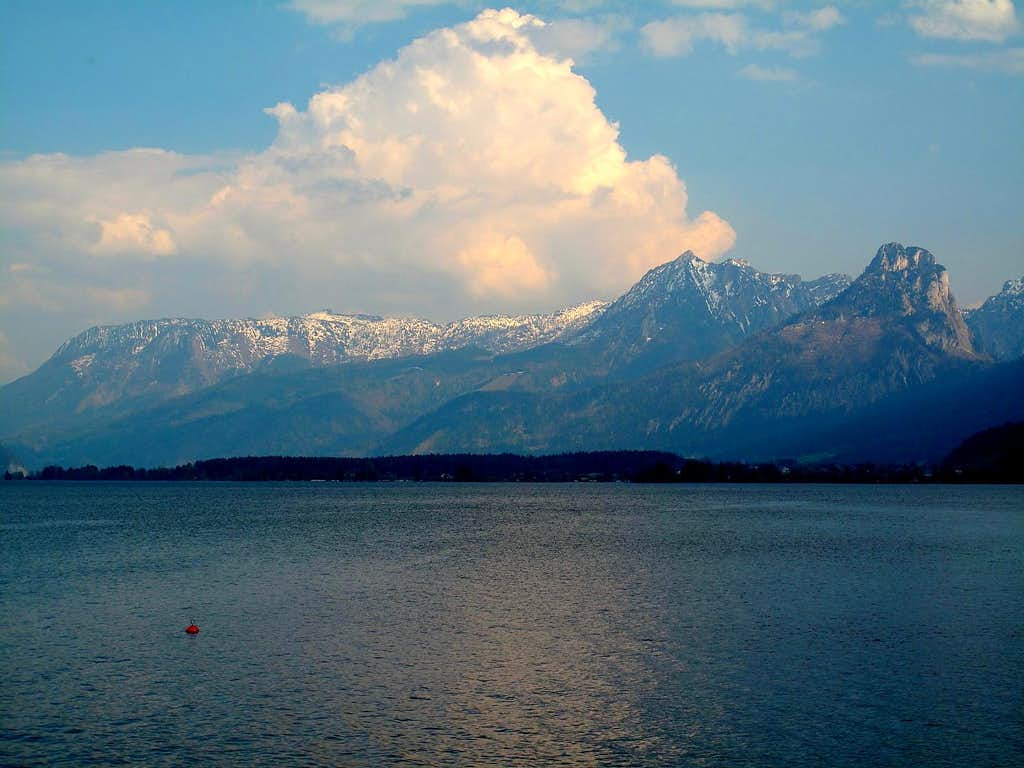 The Lake of St. Wolfgang and the Salzkammergut mountains seen from St. Gilgen