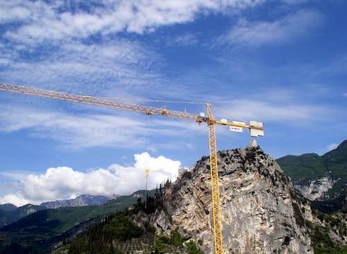 Cliff and crane