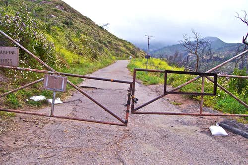 Locked gate, start of the trail