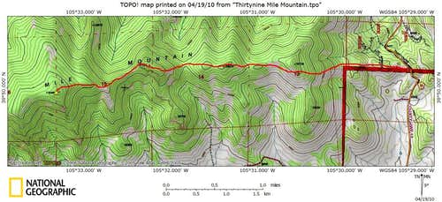 Thirtynine Mile Mountain_East Ridge Route Map