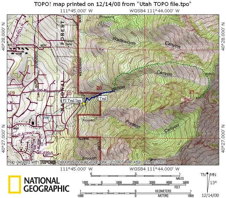 Willow Canyon Peak Map