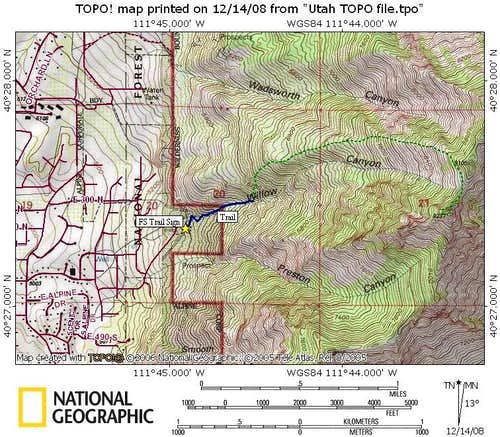 Willow Canyon Peak Map