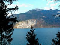 "Wolfgangsee lake with Drachenwand (""Dragon\'s Wall"") and Wolfgangseer Schafberg (1782m)"