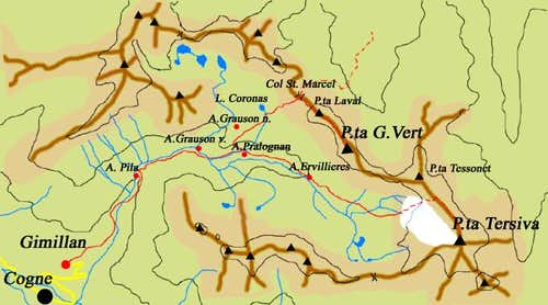 Routes to Tersiva and  to Punta G. Vert starting  from Gimillan