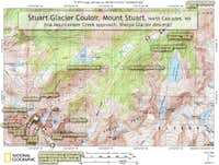 Map of approach to Mt. Stuart, North Cascades, WA