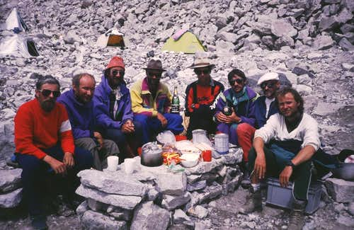 Celebrating in Cho Oyu base camp in 1990