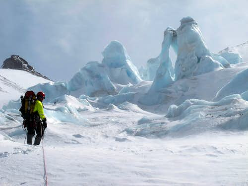 Approaching the Ice Arch in the 2nd Icefall on the Whitney Glacier