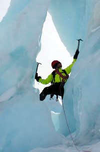 Climbing the Ice Arch in the 2nd Icefall on the Whitney Glacier
