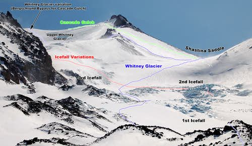 Routes Through the Whitney Glacier